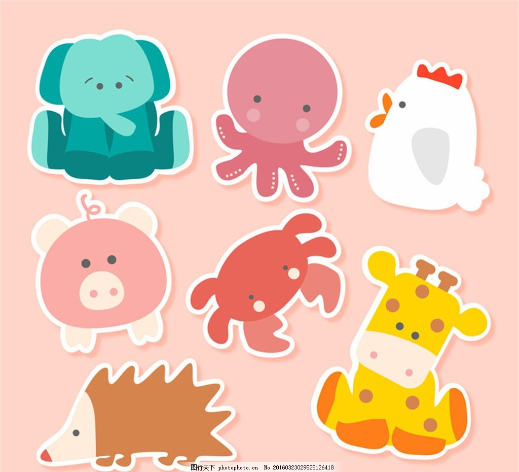 可爱章鱼贴纸大象矢量,气球蝴蝶动物猪公鸡如何用螃蟹做素材图片