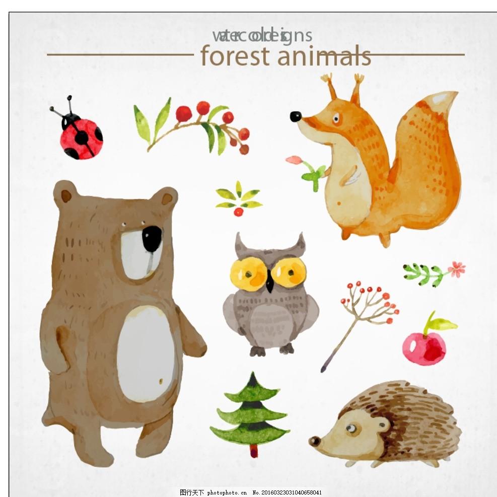 可爱的动物故事 水彩 鲜花 手 自然 叶 动物 猫头鹰 森林 熊 狐狸