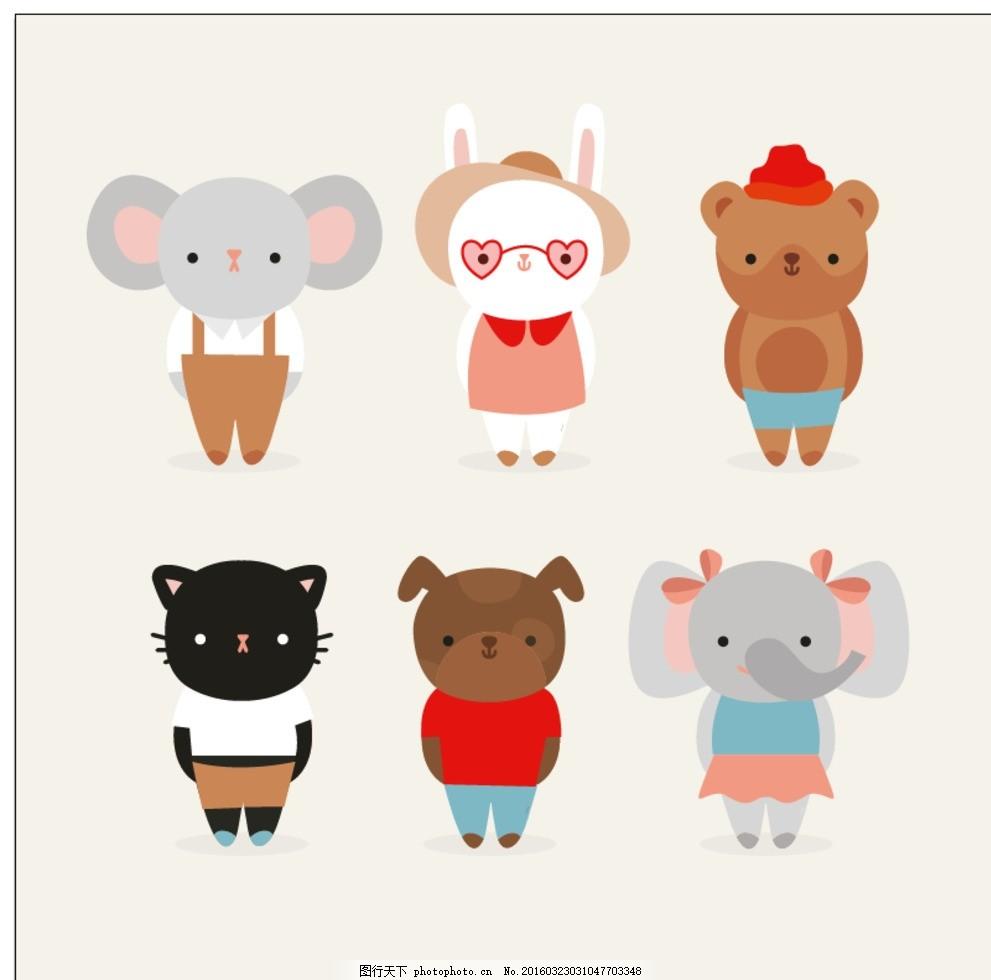 可爱的动物 狗 自然 猫 动物 卡通 绘制 可爱 大象 服装 小鼠 兔 绘画