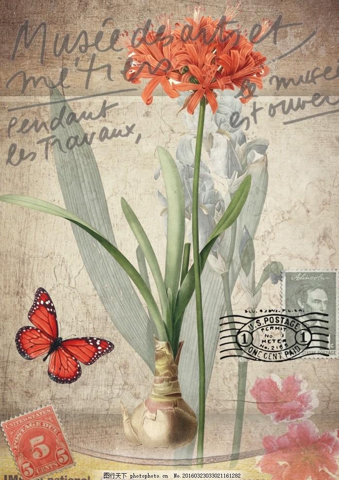 墙纸 墙画 欧式背景墙 玄关 电视背景墙 花卉装饰画 蝴蝶 手绘花卉