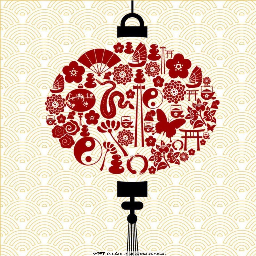 中国结动物图标组合 中国元素 灯笼 新春 春节 剪纸 传统剪纸