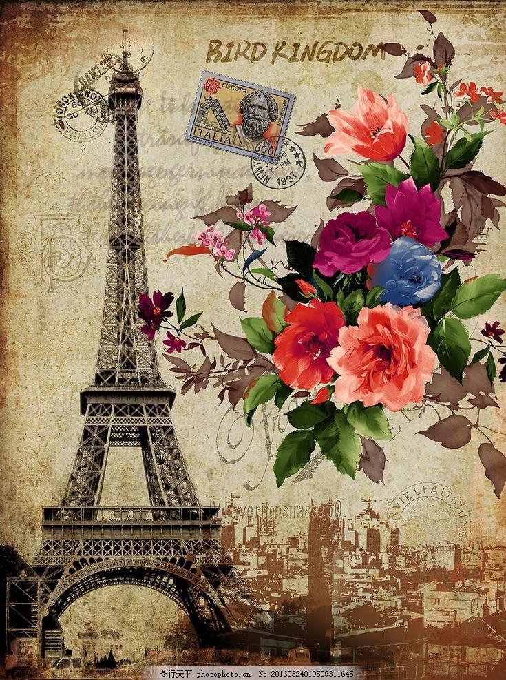 电视背景墙 花卉装饰画 花型 花型图案 建筑 欧式建筑 手绘花卉 花鸟