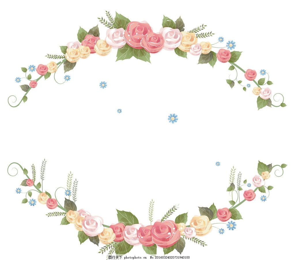 玫瑰边框 图片下载 玫瑰 玫瑰花 文字框 文本框 彩色玫瑰 手绘玫瑰 玫