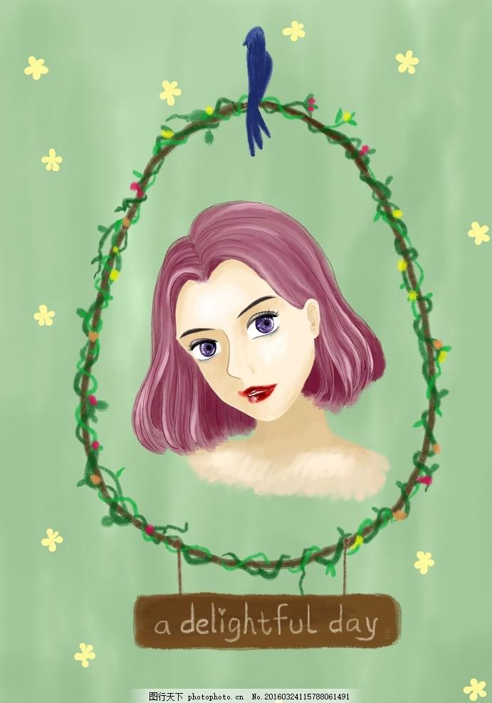 鸢土社手绘紫发女孩 漫画 插画 唯美 头像 短发 文艺 人物 动漫动画
