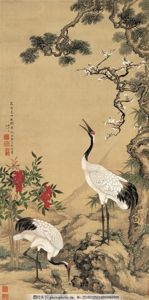 松梅双鹤图 高清大图 山水画 古画 泼墨 装饰画 博物馆画 仙鹤