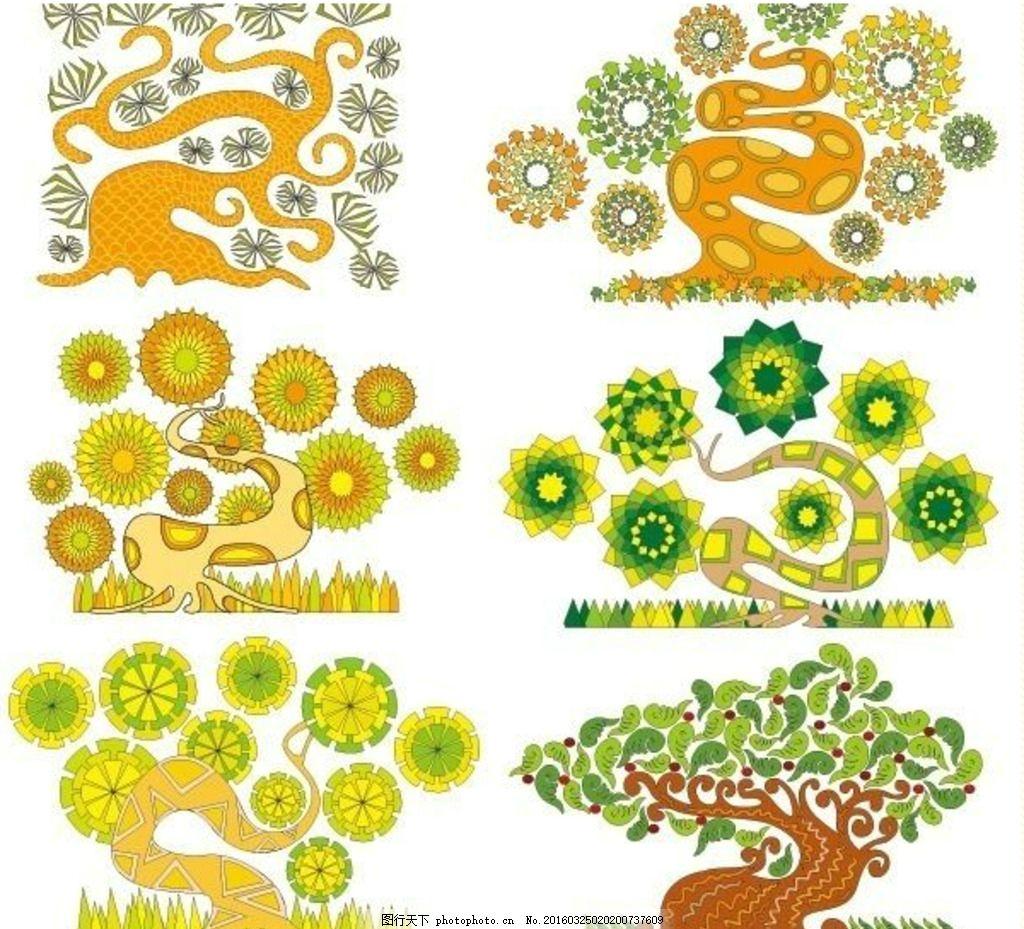 弯曲的创意手绘树 大树 背景素材 手绘树木 绿色树 植树节 一棵树