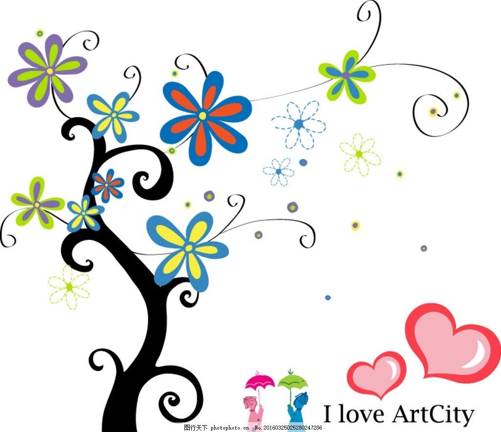 抽象树叶花纹 树木 绿叶 绿植 树叶 绿树 红叶 植物 花 花草 花木