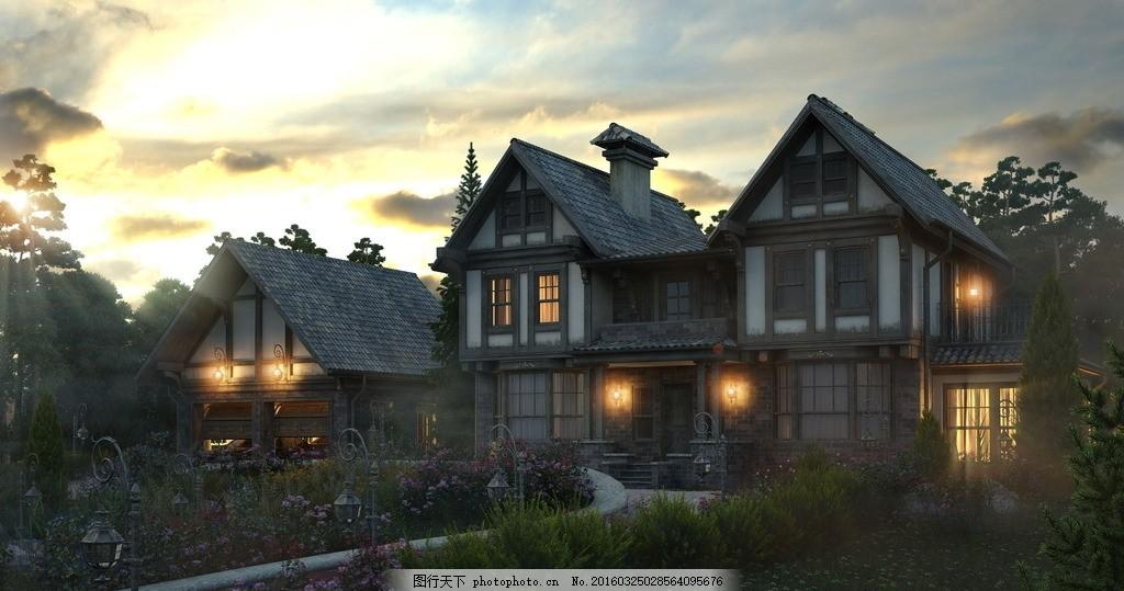 欧式别墅建筑设计效果图 欧式别墅 设计 景观 建筑设计 小屋 木屋