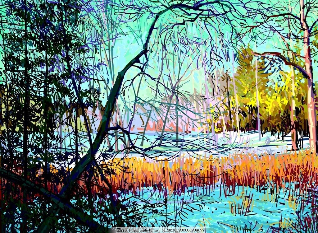 艺术风景插画 创意 水墨 风景画 河边 水彩画 矢量素材