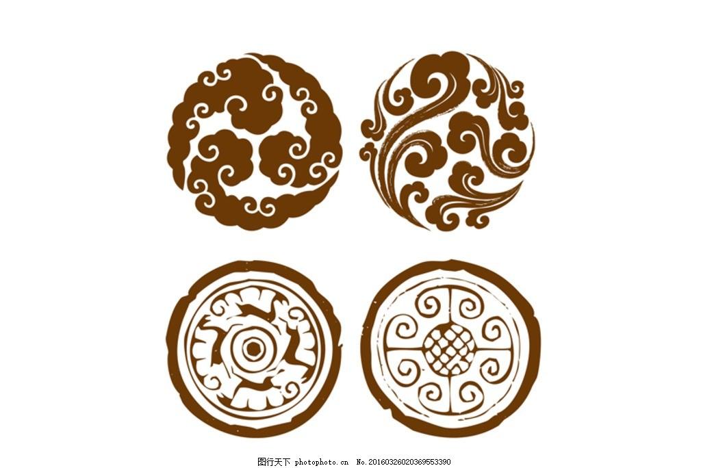 祥云 瓦当 圆 中国 古典 设计 底纹边框 花边花纹 ai