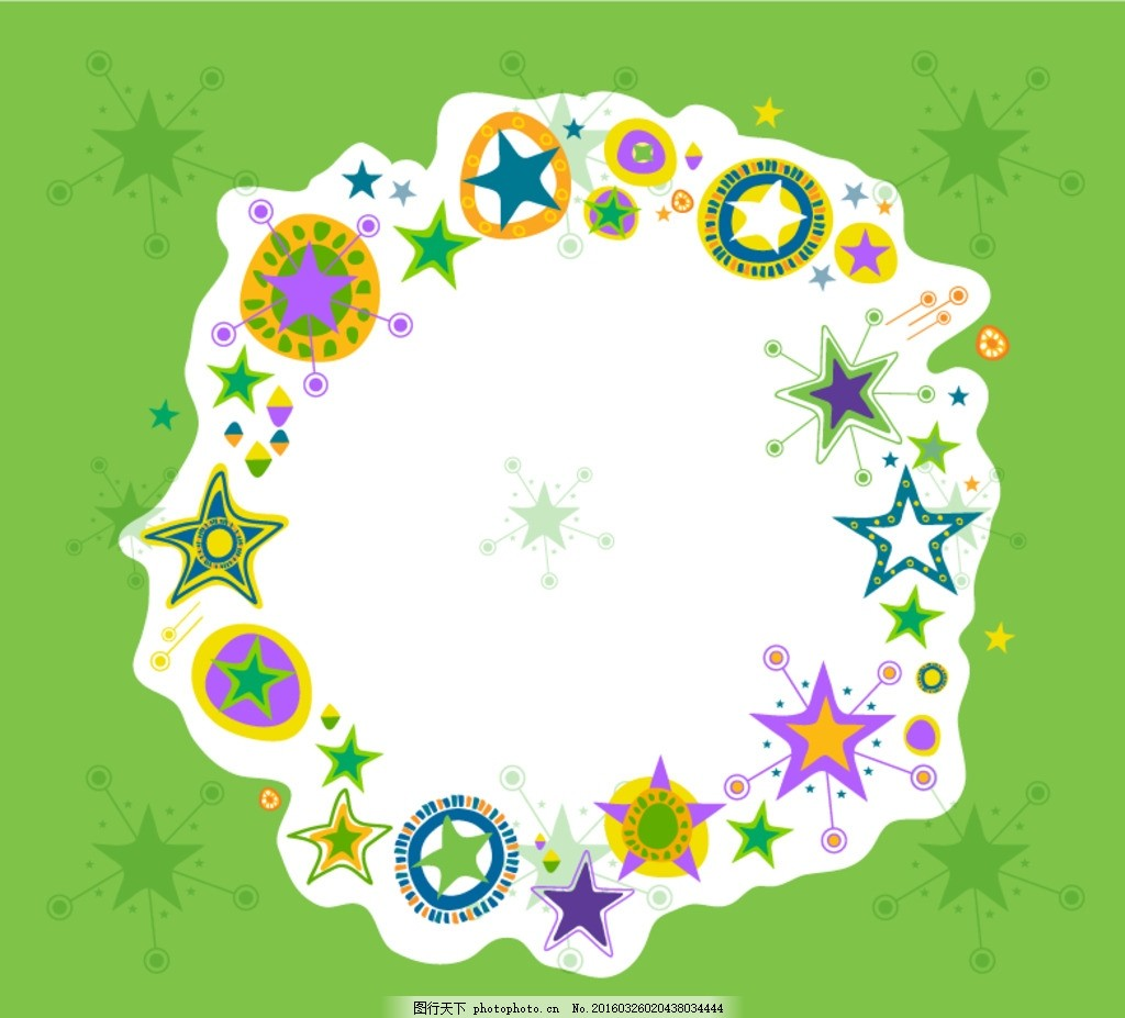 组合 圆形边框 五星 五角星 插画 手绘 插图 相框 装饰画 设计 花边