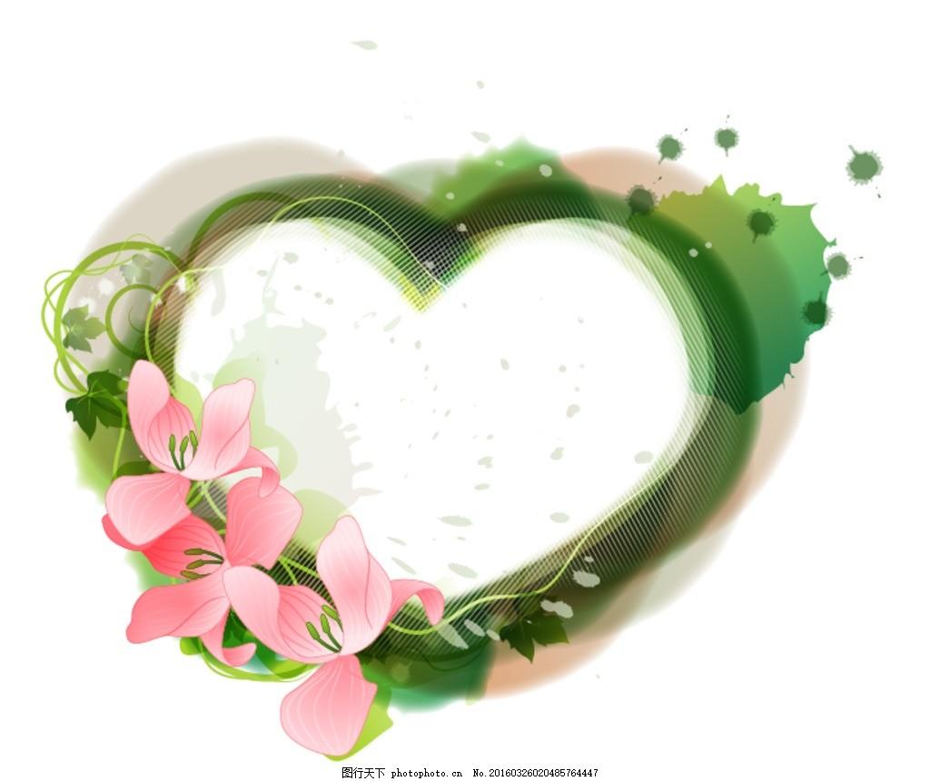 心形边框 粉色花朵 边框 植物 插画 手绘 插图 相框 装饰画 设计 花边