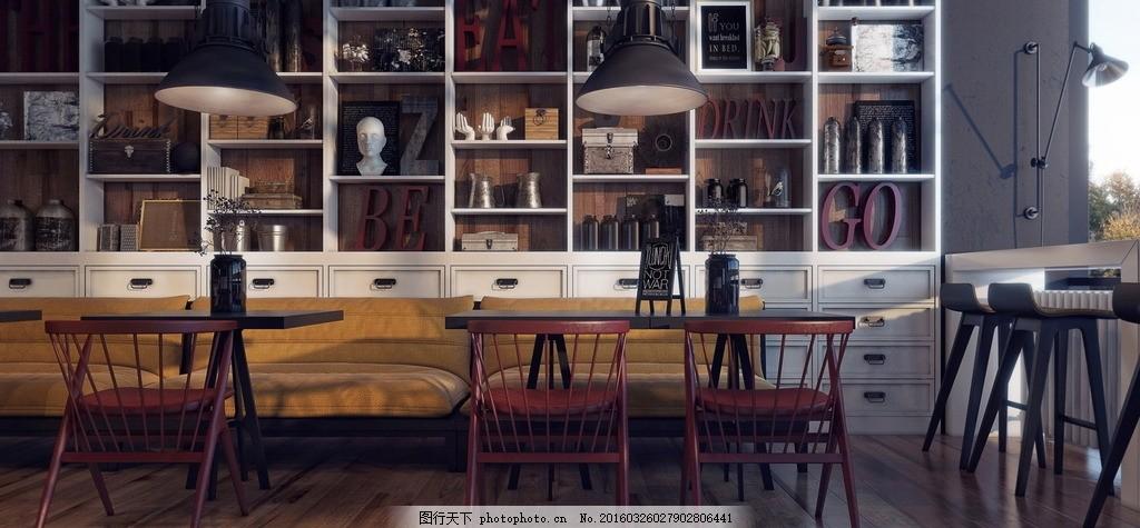 室内设计咖啡厅环境效果图,舒适 恬静 优雅 安静 文艺