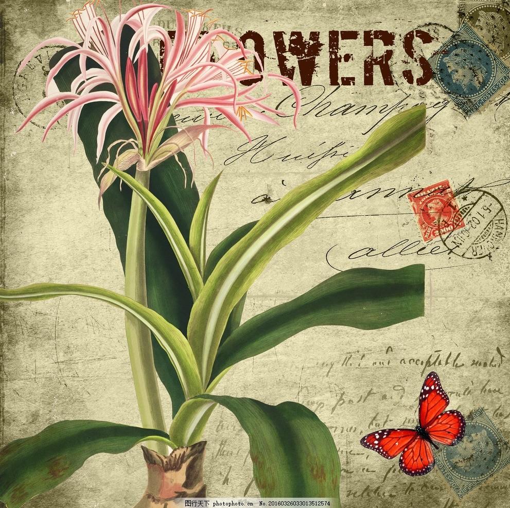 花型图案 蝴蝶 手绘花卉 玉兰花 花卉 兰花 花纹 邮票 印章 复古风 室
