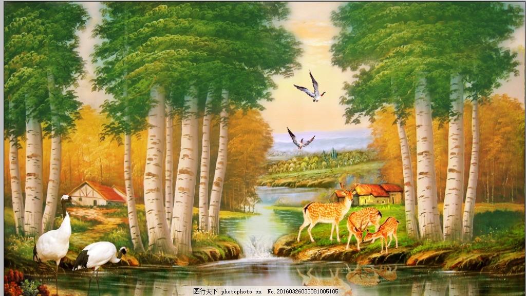 风景小溪树林 风景 树林 小溪流 梅花鹿 丹顶鹤 油画装饰画 大自然