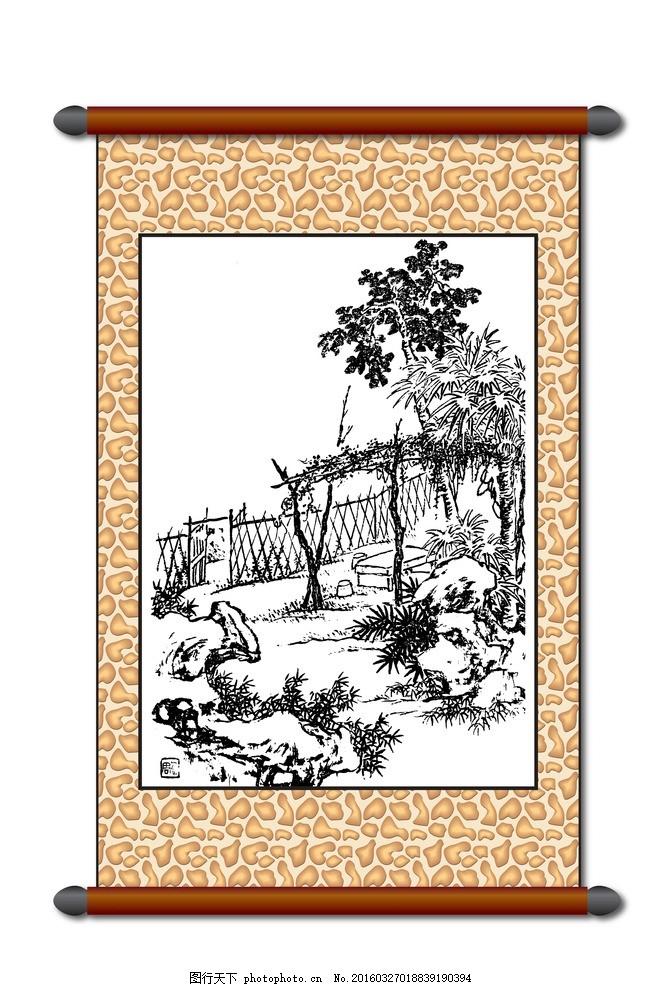 白描风景画 模版下载 版画风景 树木 院子 线描 工笔 美术 黑白稿