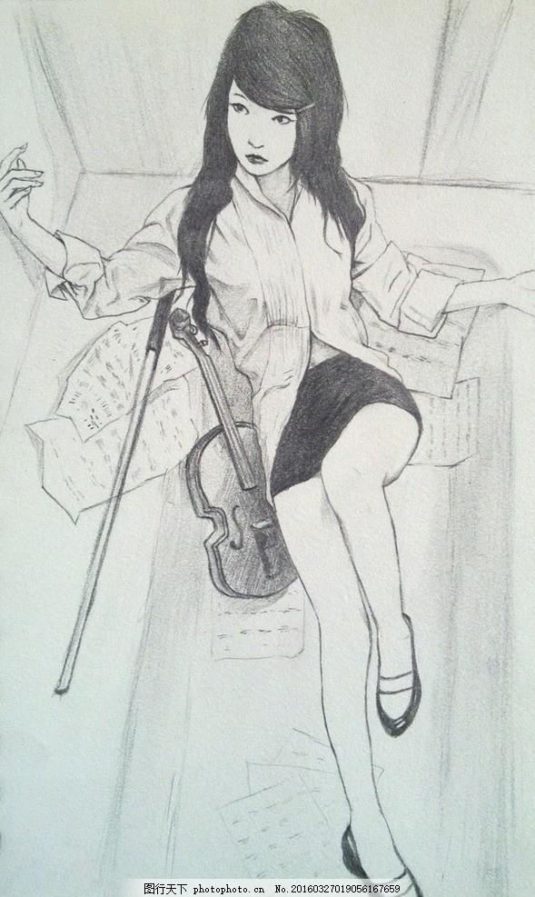 美女人物素描