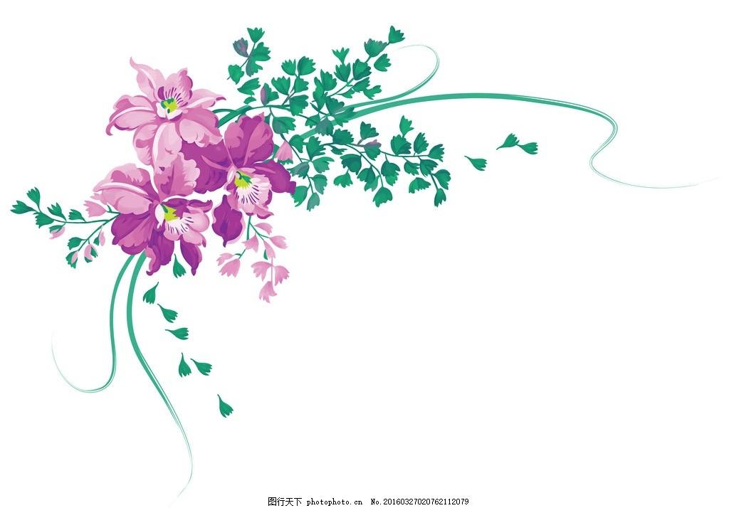 兰花 模版下载 手绘兰花 花卉 边框 画框 边角框 文字框 文本框