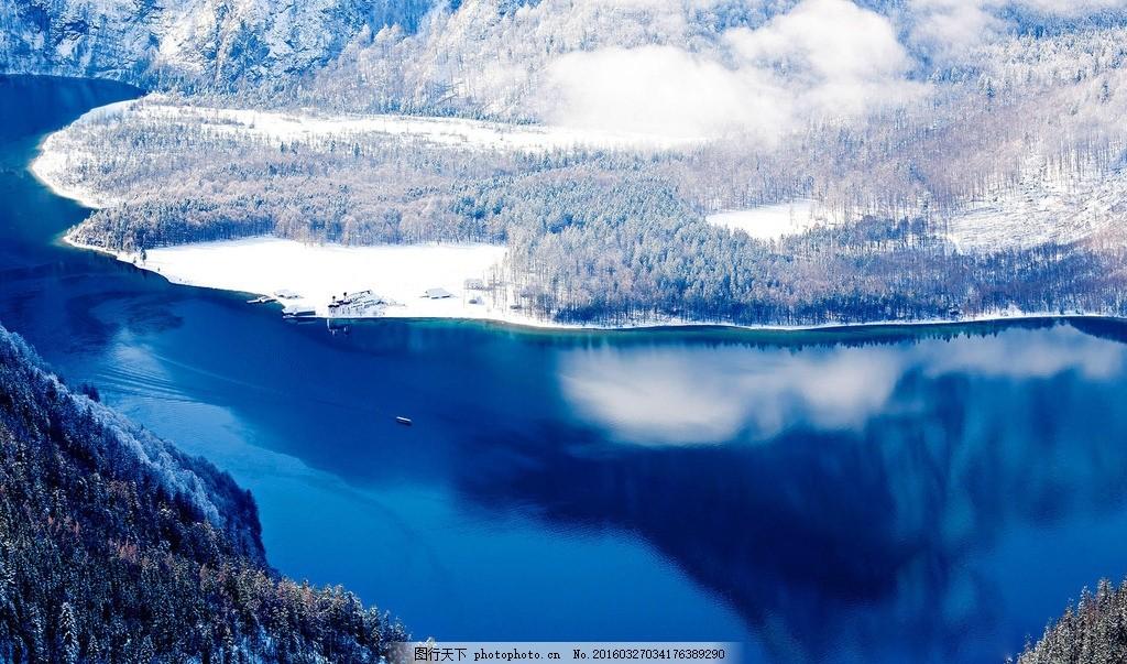 冰山湖边 摄影 风景 素材 照片 景色 山 湖泊 蓝色 雪 摄影 自然景观