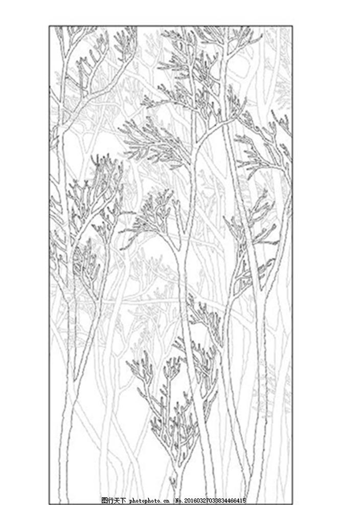 大树 树枝 银树 黑白树 黑树 线描图 线条图 银树枝 艺术玻璃 背景