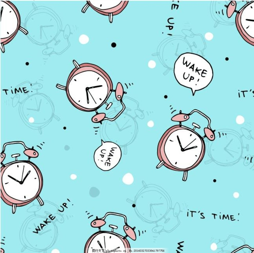 可爱 时间 创意闹钟 背景 矢量图 手绘线条 卡通图案素材 卡通笔记本