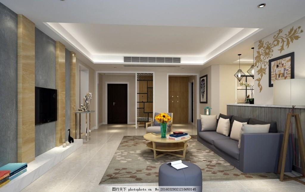 现代日式 室内设计 室内效果图 客厅 客厅吊顶 客餐厅 鞋柜 酒柜