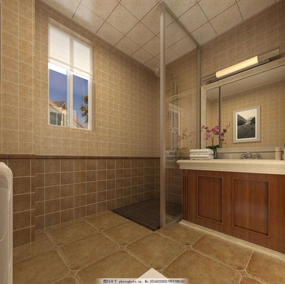 美式卫生间 现代 美式 欧式        洗手盆 设计 环境设计 室内设计 7