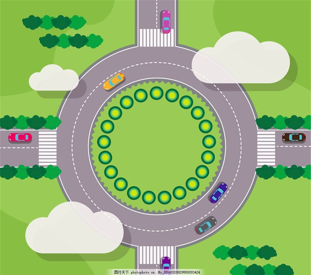 创意转盘环岛路俯视图矢量素材 绿树 道路 公路 转盘路 车辆 俯视图
