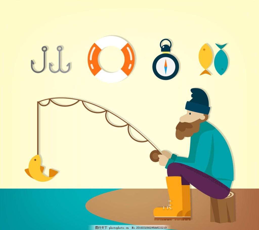 钓鱼的男子 垂钓 鱼钩 救生圈 指南针 吊杆 河边 卡通 男人图片