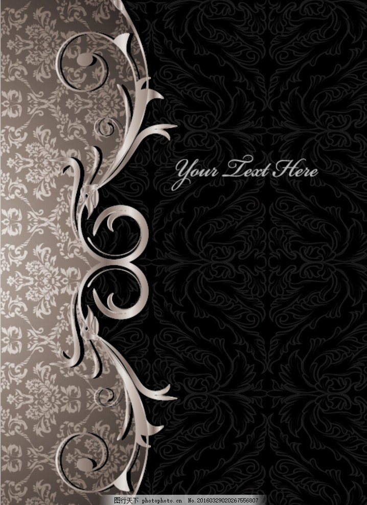 灰黑色欧式经典花纹背景