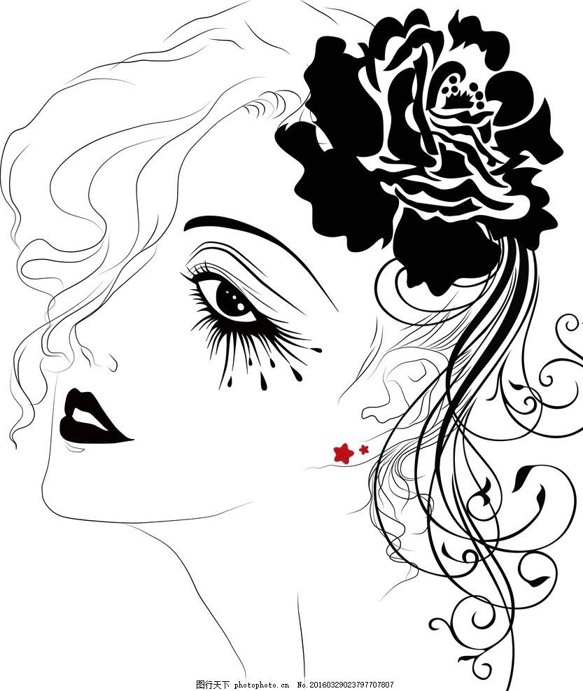 女人花线描 鼠绘线描美女 卡通女孩 黑白线描画 人物矢量素材 忧郁