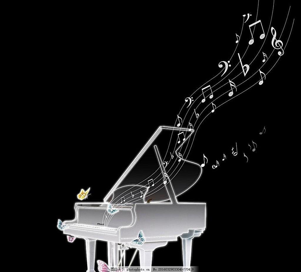 发光的钢琴图片