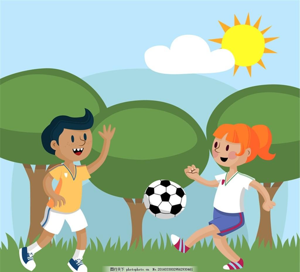 踢足球的男孩女孩矢量图