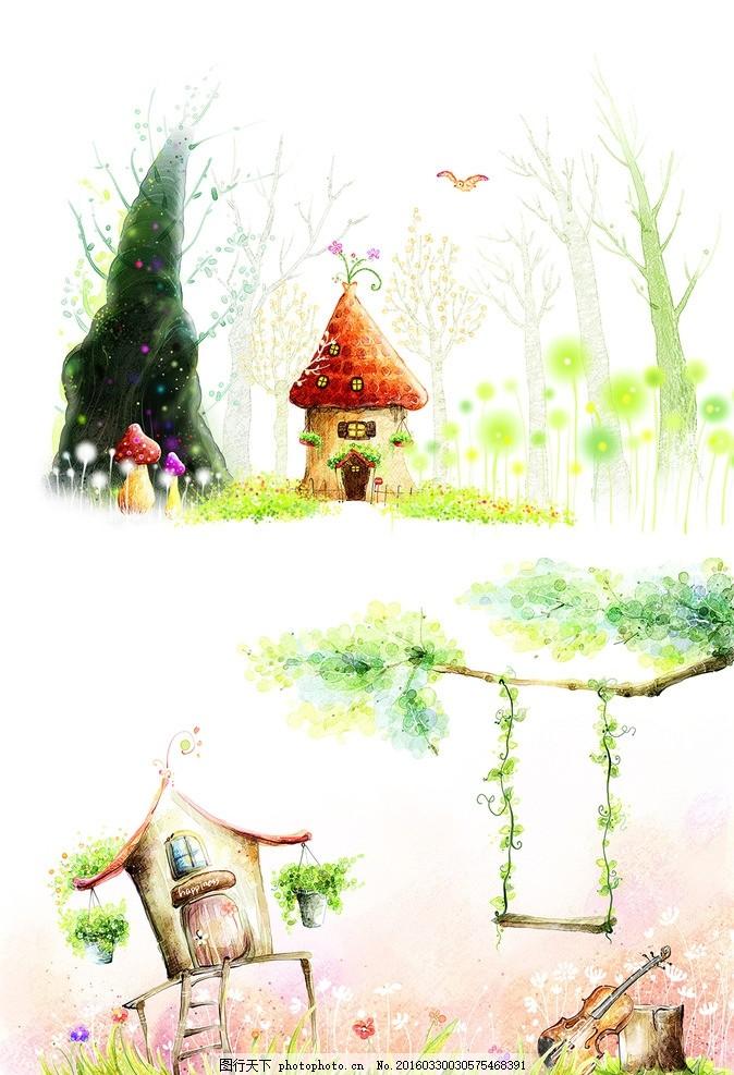 卡通插画 梦幻 浅色 唯美 风景 儿童 背景 小屋 树 绿色 花朵