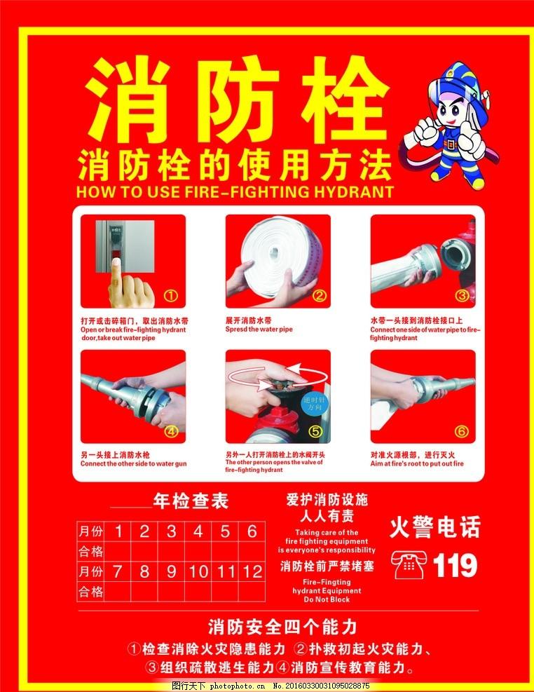 消防栓 使用方法 红底 白字 黄字 海报 设计 广告设计 其他 cdr