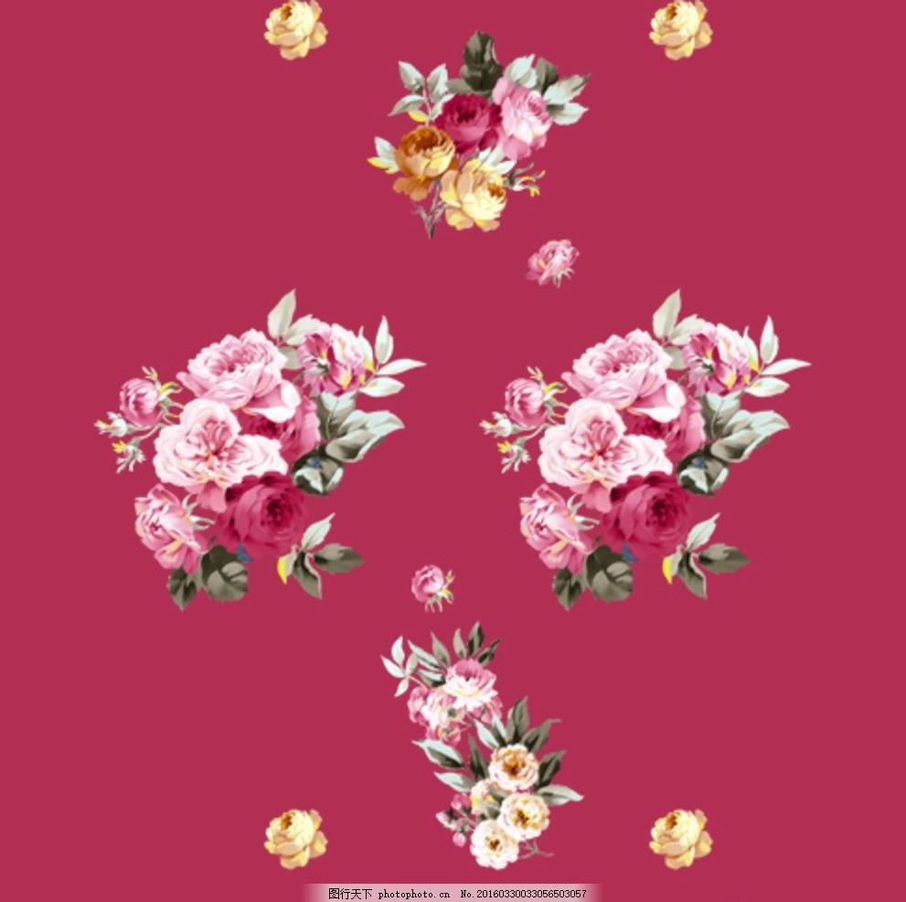 手绘花 花束 数码印花 花朵 花矢量 花卉手绘花卉素材 设计 psd分层