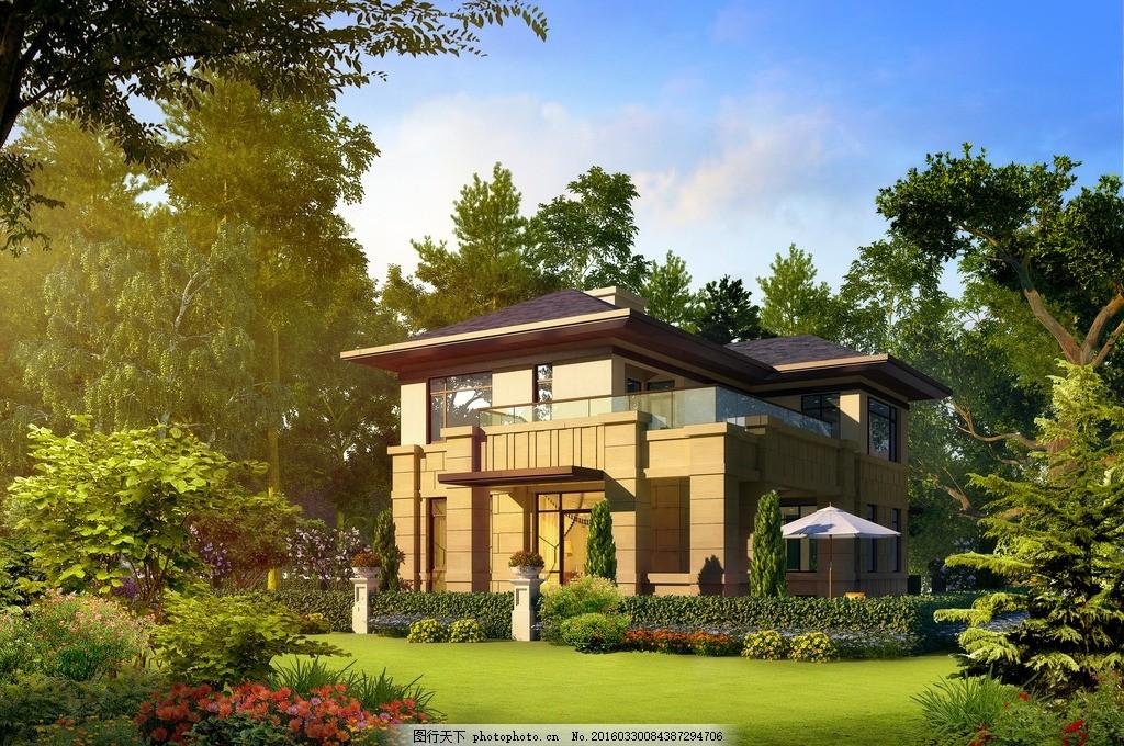 豪宅的房子 别墅 园林 草地