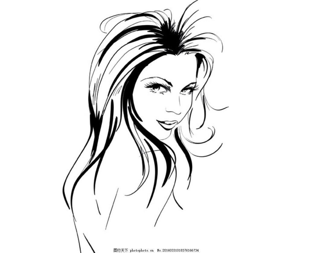 手绘 线条美女 插画美女 长发飘逸 美女手绘 动漫美女 艺术类 设计 动
