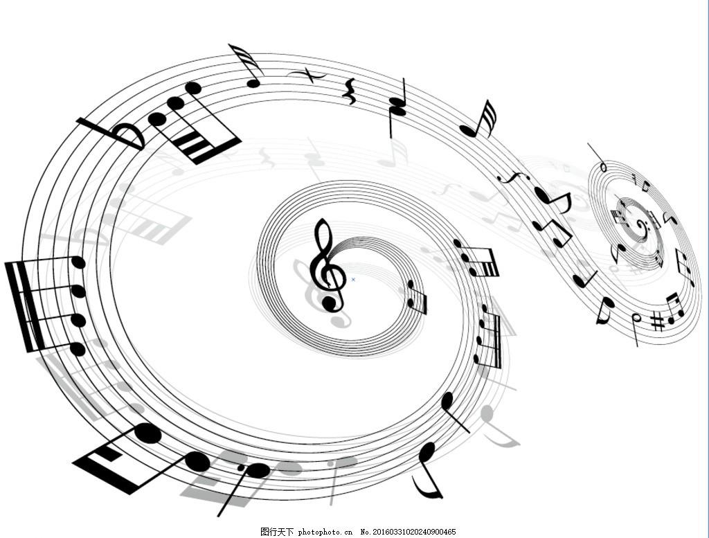螺旋状动感音符 黑白 螺旋状 螺旋 动感 音符 背景设计 波浪 音乐