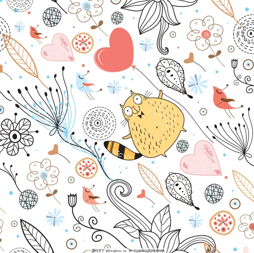 龙猫图案 布匹印花 纺织品图案 花型 面料设计 抽象花 里料花纹