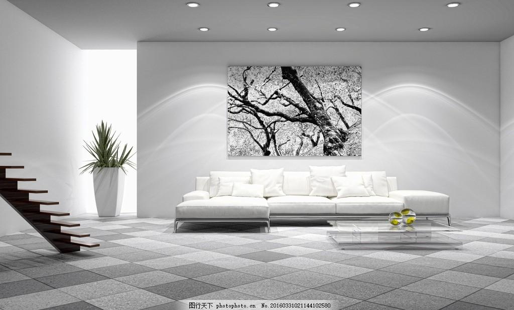 经典白色客厅 白色      地砖 墙面 沙发 背景墙 设计 3d设计 3d作品