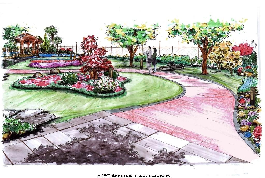 别墅手绘节点 园林 景观 别墅 手绘 原创        节点 透视图 设计 环