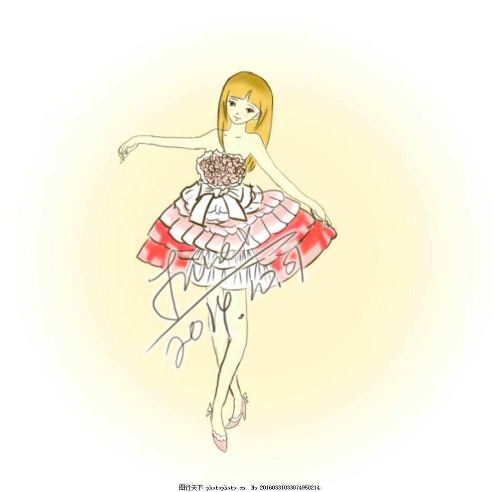 psd分层手绘跳舞女孩人物素材